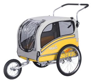 The Sepnine dog trailer easily converts to a jogger/stroller for your dog